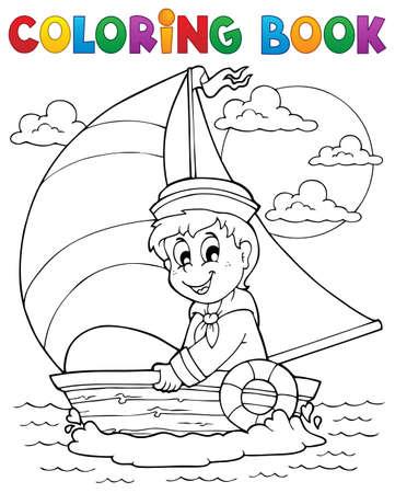 seaman: Coloring book sailor theme 1 Illustration