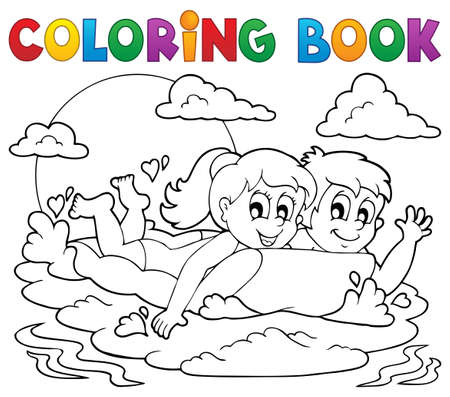 Coloring book summer activity 1  Vector