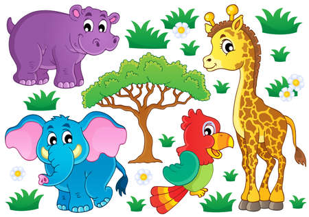 Cute African animals collection 1  Vector