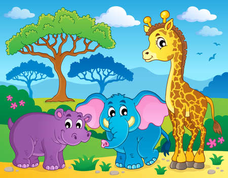 Cute African animals theme image 1   Vector
