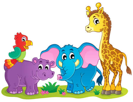 Cute African animals theme image 4 Vector