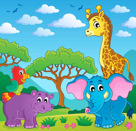 Cute African animals theme image 5  Vector