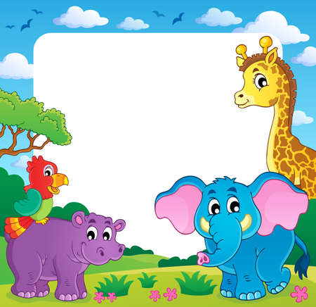 giraffe frame: Frame with African fauna 1  Illustration