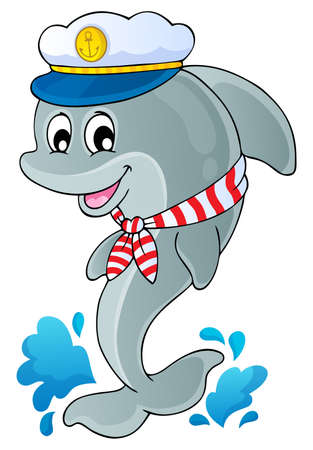 Image with dolphin theme 1 Vector