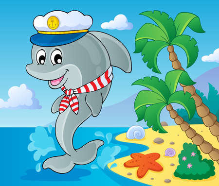 scarf beach: Image with dolphin theme 3   Illustration