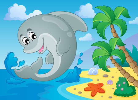 Image with dolphin theme 5  Vector