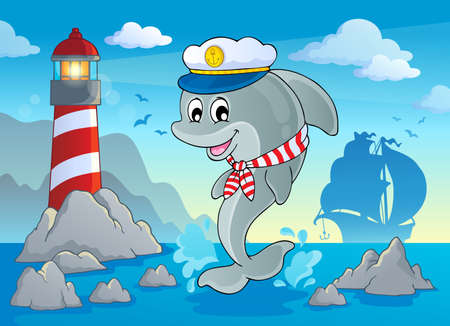 sailor hat: Image with dolphin theme 7  Illustration