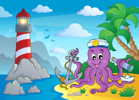 Image with octopus sailor 3  Vector
