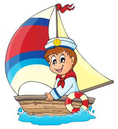 Immagine con marinaio tema 3 Vettoriali