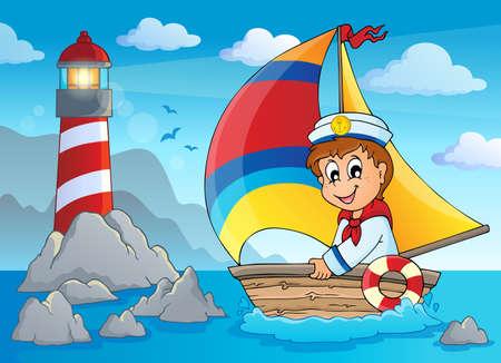 Immagine con marinaio tema 4 Vettoriali