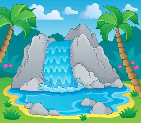 Image with waterfall theme 2   Illustration
