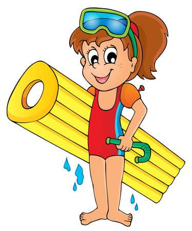 enfant maillot de bain: Eau Summer thème de l'activité 5 Illustration