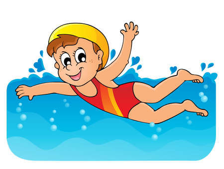 swim cap: Swimming theme image 1