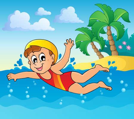 swim cap: Swimming theme image 2