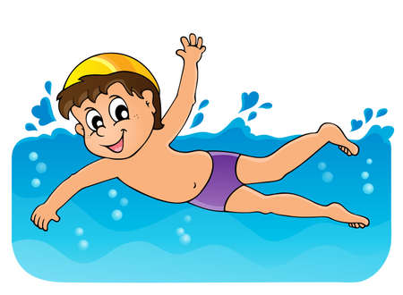 enfant maillot de bain: Natation image Th�me 3 Illustration