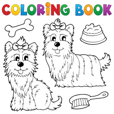 Coloring book dog theme  Vector