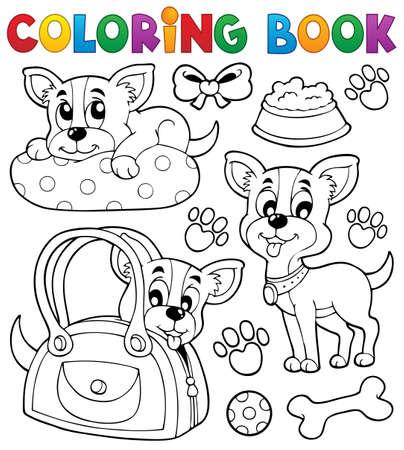 huellas de perro: Libro para colorear tema del perro