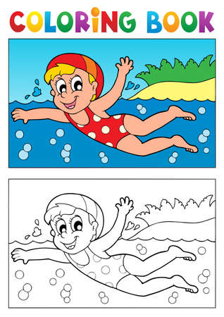 Coloring book swimming theme  Vector