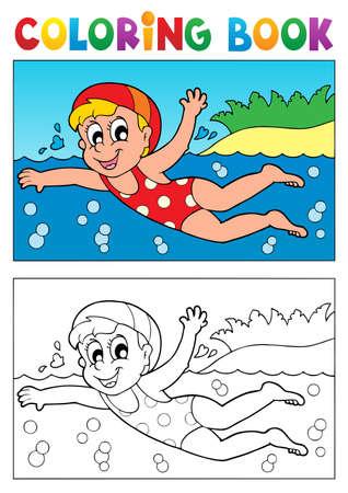 actividades recreativas: Libro para colorear nataci�n tema Vectores