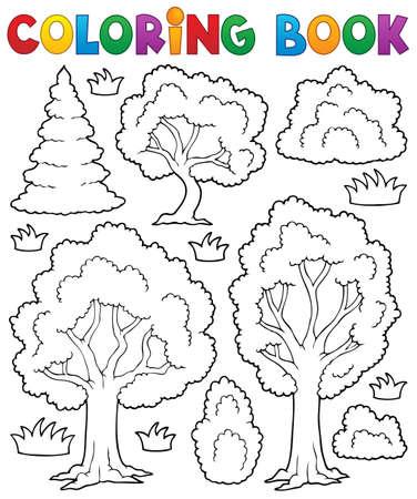 arboles frondosos: Libro para colorear tema del árbol