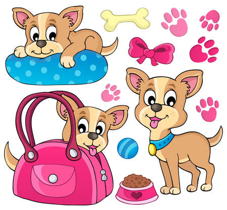 Cute dog theme image Vector