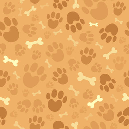 foot prints: Dog theme seamless background    Illustration