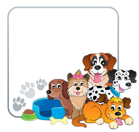 Frame with dog theme  Vector