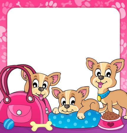 cartoon chihuahua: Frame with dog theme
