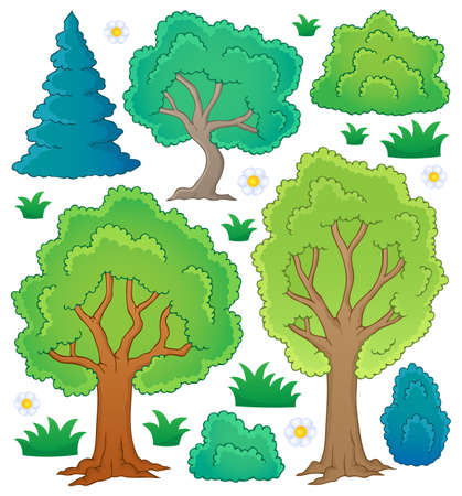 summer trees: Tree theme collection   Illustration