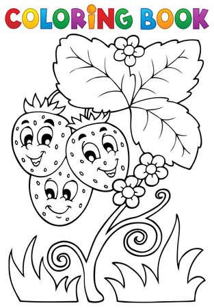 Una Ilustración De Dibujos Animados De Una Fresa Con Cara De ...