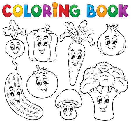 pepino caricatura: Colorear verduras tema del libro