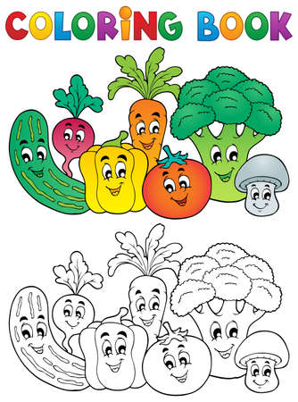 Coloring book vegetables theme Illustration