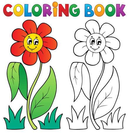 clipart: Libro para colorear con el tema de la flor Vectores