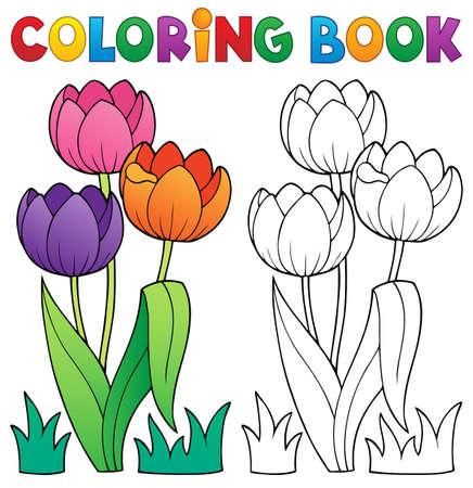 zeichnen: Malbuch mit Blume Thema Illustration