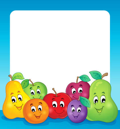 Fruits theme frame Vector
