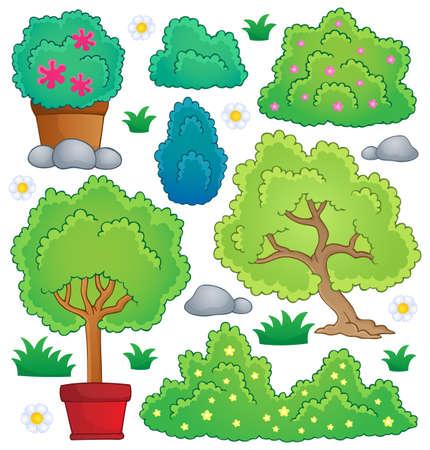leafy trees: Plantas y recogida de tema arbusto Vectores