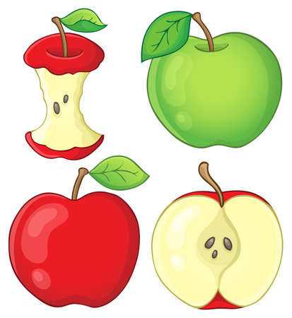 apple core: Various apples collection Illustration