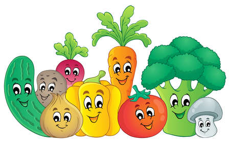 diet cartoon: Vegetables theme image