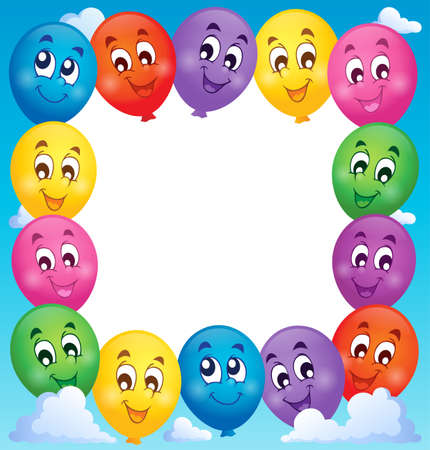 cartoon frame: Balloons theme frame