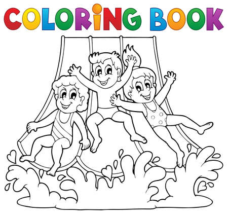 young boy in pool: Coloring book aquapark theme