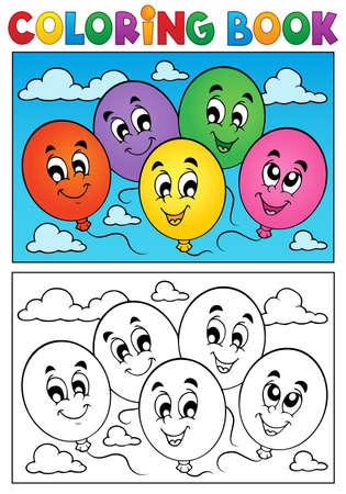 libros volando: Colorear globos tema del libro Vectores