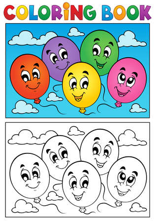 Coloring book balloons theme