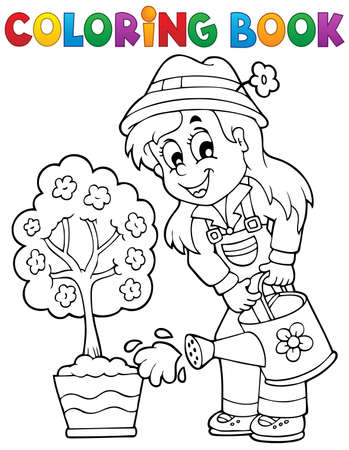 Coloring book gardener theme