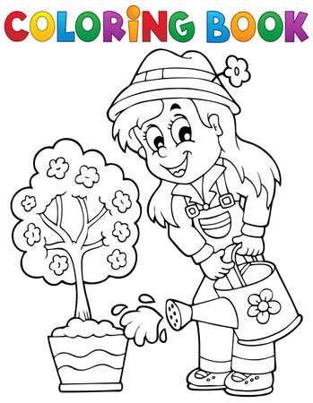 woman gardening: Coloring book gardener theme