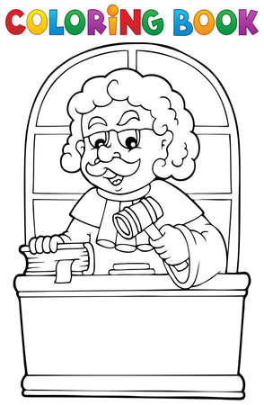 judge hammer: Coloring book judge theme