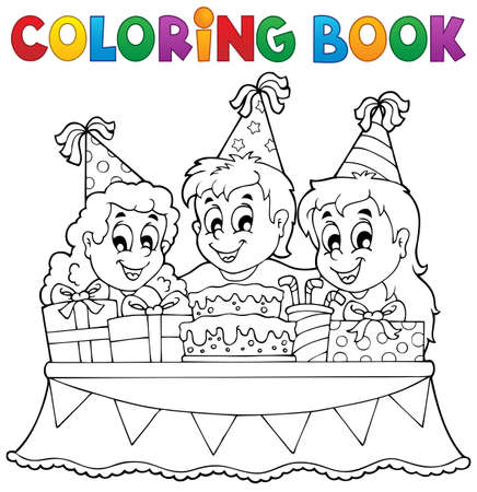 Coloring book kids party theme  Vector