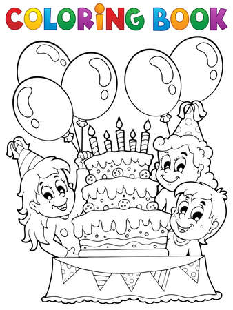 outline drawing: Coloring book kids party theme