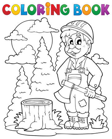 leñador: Libro para colorear tema leñador Vectores