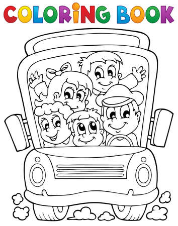 public transportation: Coloring book school bus theme