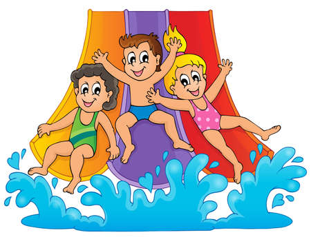 young boy in pool: Image with aqua park theme  Illustration